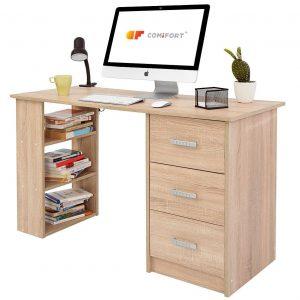 Mesa de oficina con cajones y estantes